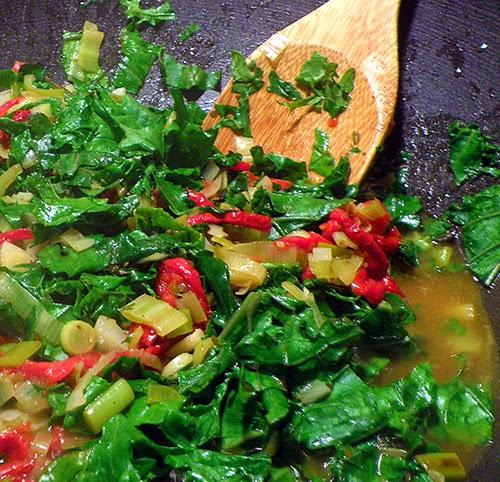 Kale Braising in Wok