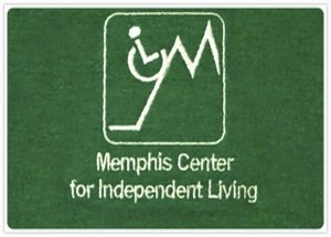 "Memphis Center for Independent Living logo, wheelchair symbol climbing the letter ""M"""
