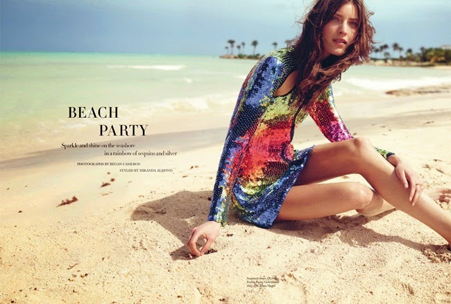 Emilio Pucci 2014 SS Editorial: Rainbow Sequins Short Dress