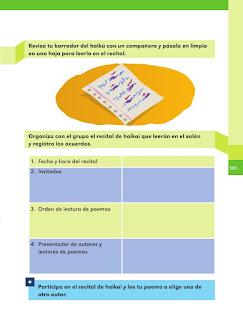Apoyo Primaria Español 1er grado Bimestre 4 lección 15 La escritura de un haikú