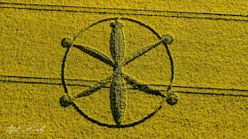 Der erste britische Kornkreis 2018 in Willoughby Hedge, in der Nähe von Mere, Wiltshire - 8. Mai 20