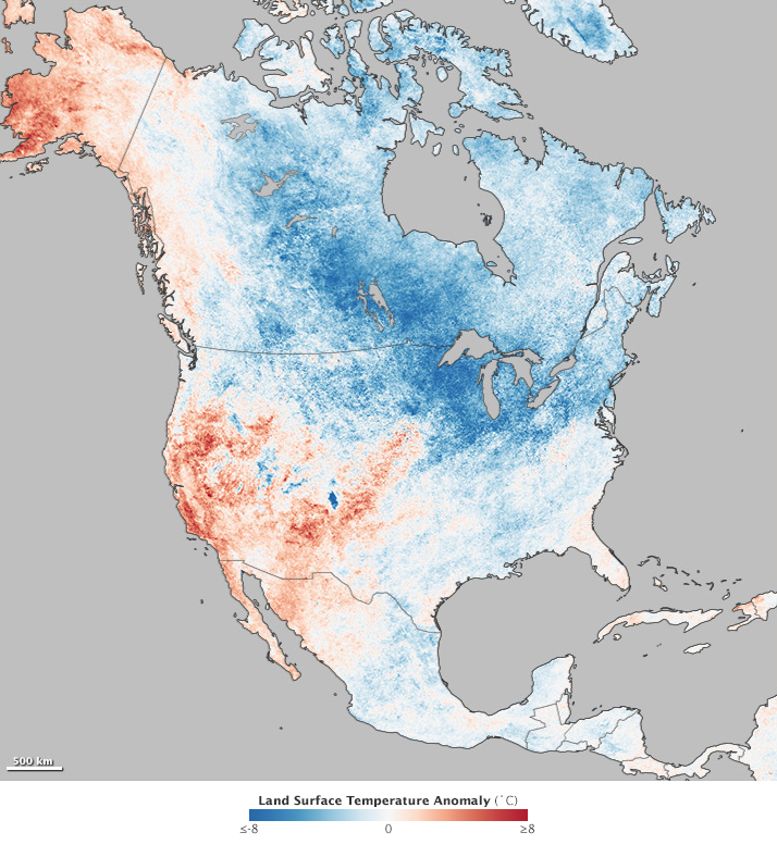 This map shows land surface temperature anomalies for North America for December 1, 2013, to February 28, 2014 — the period known to scientists as meteorological winter in the Northern Hemisphere. Based NASA satellite data, the map depicts temperatures for December 2013 to February 2014 compared to the 2000–2013 average for those months. Areas with warmer than average temperatures are shown in red; near-normal temperatures are white; and areas that were cooler than normal are blue. (Map credit: NASA Earth Observatory) Click to enlarge.
