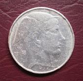 Koin perak Belgium 20 Francs 1949