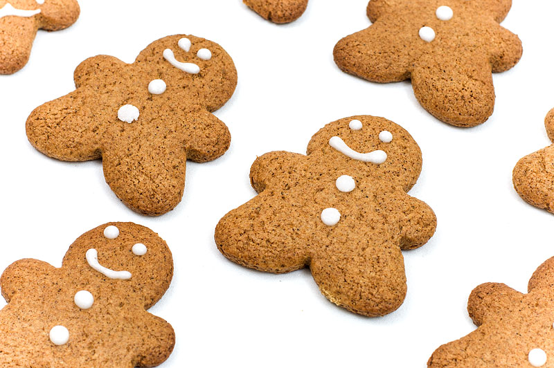 Gingerbread man cookies laying close up