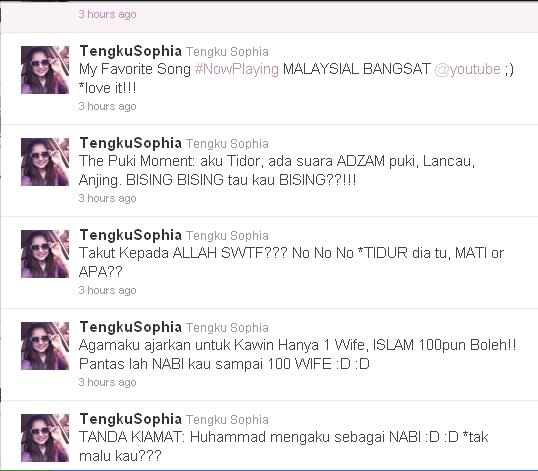 gambar siapa twitter tengku sophia hina islam malaysia