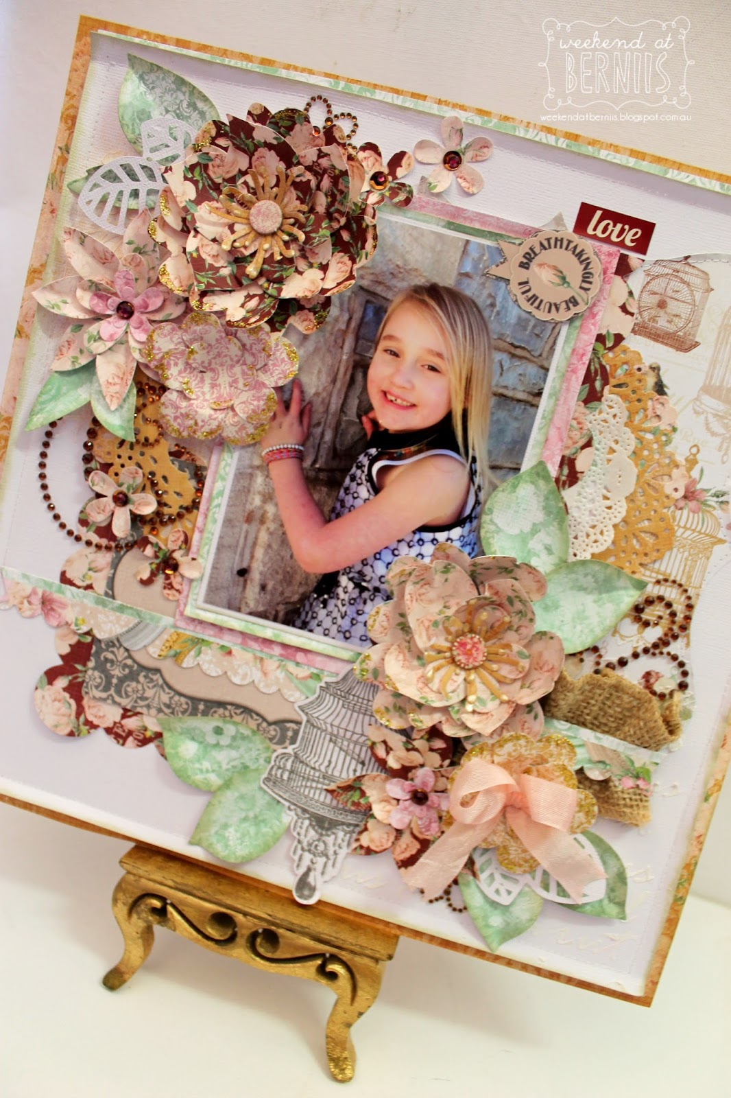 Breathtakingly Beautiful layout by Bernii Miller using the BoBunny Madeline Collection