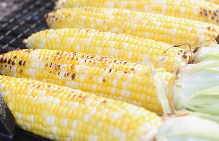 grilled corn with husk removed