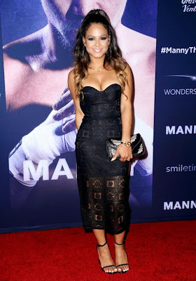 Christina Milian flaunts cleavage in sexy dress at Manny Premiere