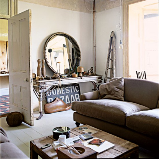 So beautiful things shabby chic on friday an industrial for Industrial farmhouse family room