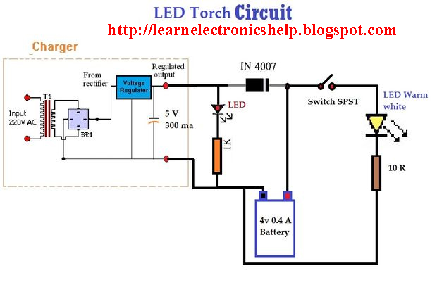 Led torch circuit diagram | Learn Basic Electronics,Circuit Diagram ...