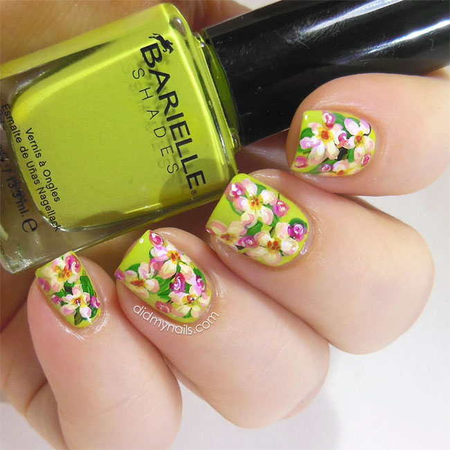 apple blossom nail art flowers