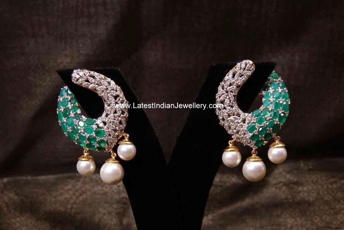 Diamond Emerald Stylish Bali Earrings