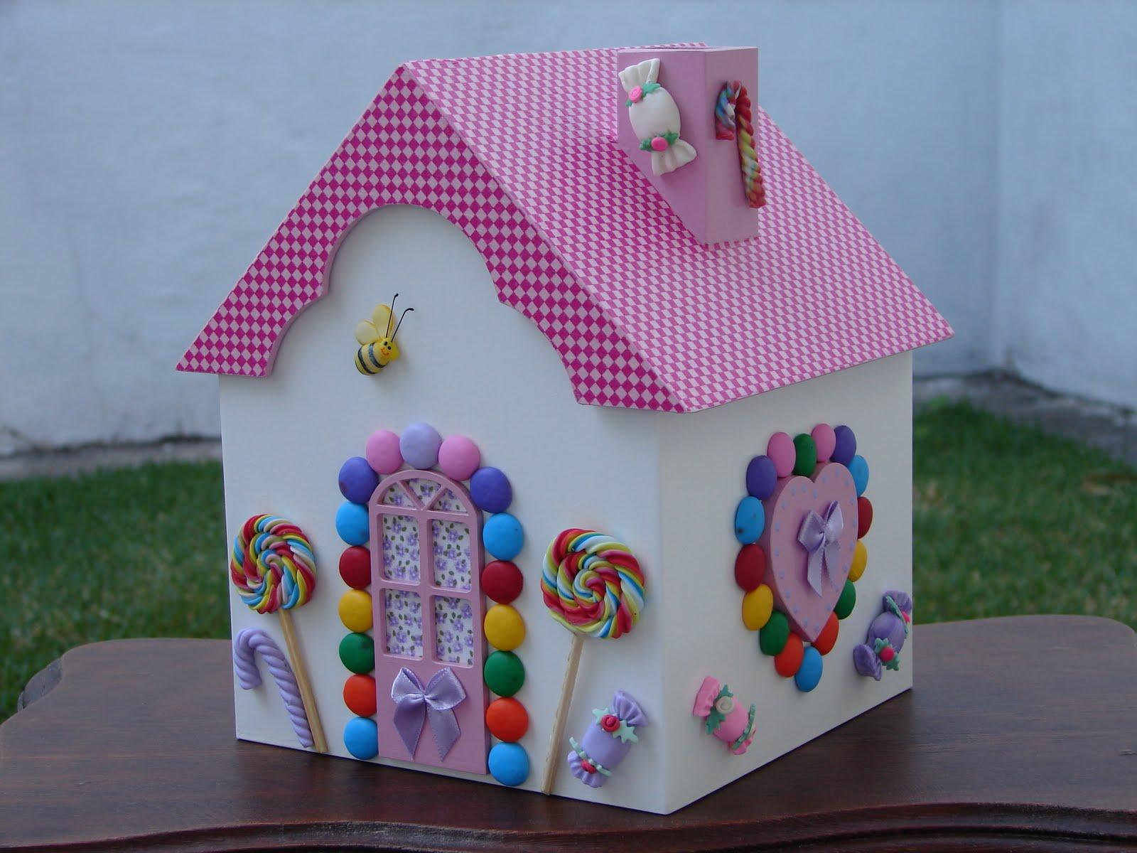 Artesanato Infantil Em Madeira ~ Bell'Arte Arte em madeira e tecido Casinha de Doce