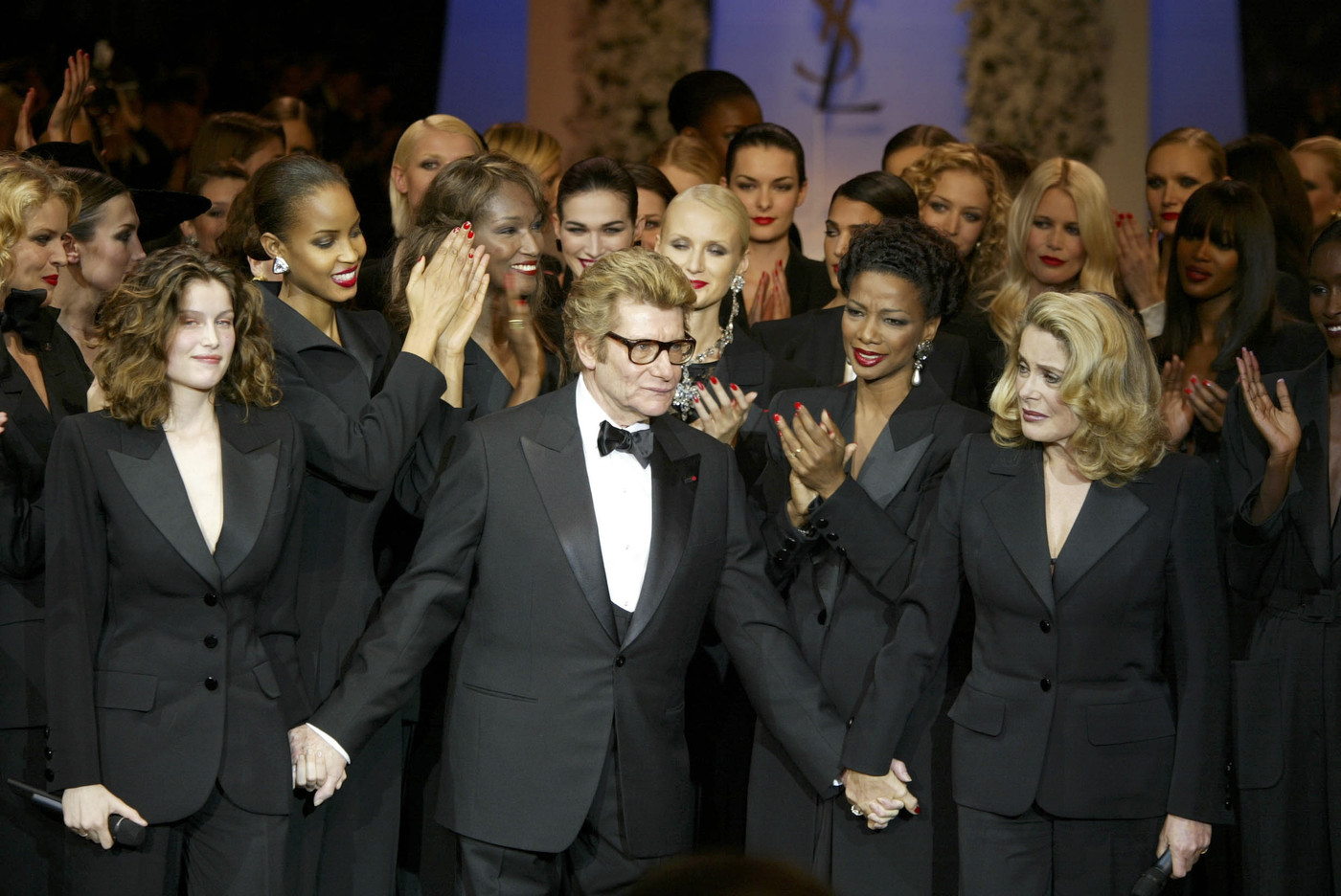 Yves Saint Laurent with Laetitia Casta and Catrine Deneuve at finale of Yves Saint Laurent Spring Summer 2002 Haute Couture show / via fashioned by love british fashion blog