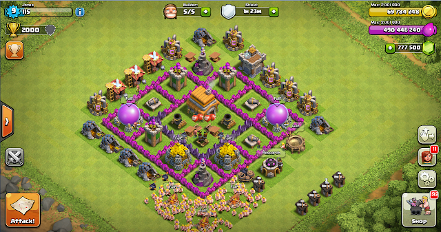 Clash of clans basic th 6 for Html table th 2 rows