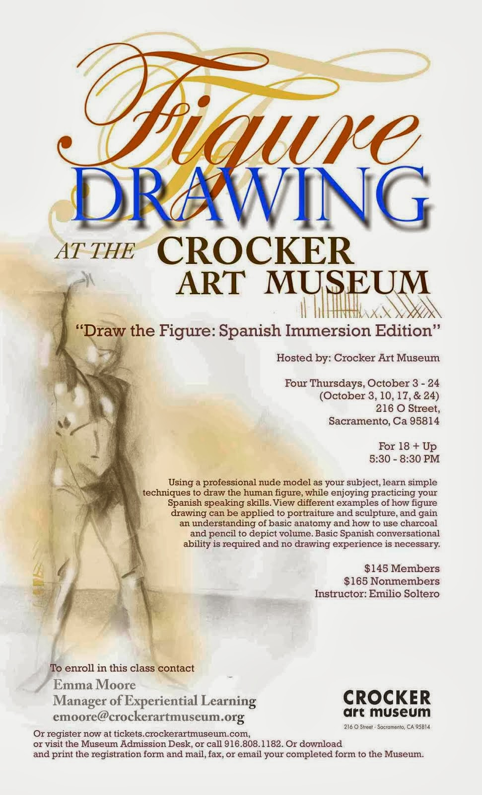 Figure Drawing in Spanish at Crocker Museum starting oct 3, 2013