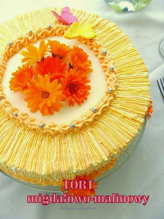Tort migdałowo-malinowy z nagietkami( bezglutenowy)