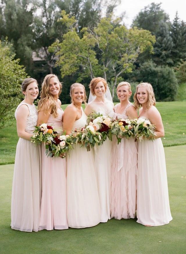 long blush pink wedding dresses
