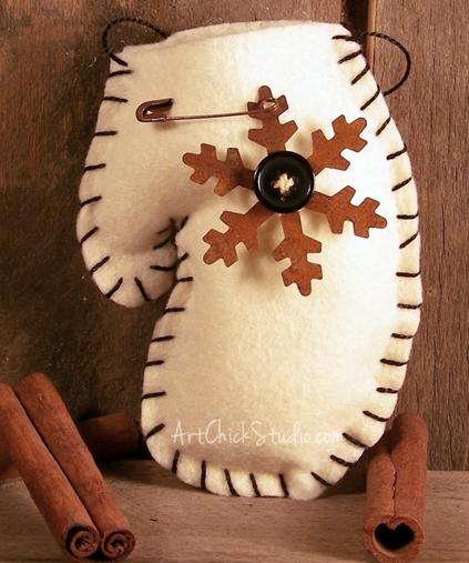 Snowflake Felt Craft Mitten