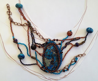 Process photo - freeform beadwoven necklace  by Karen Williams