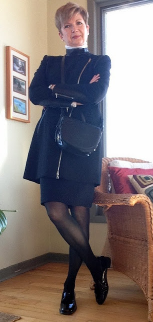 Love my new Mackage bag with a skirt and long jacket