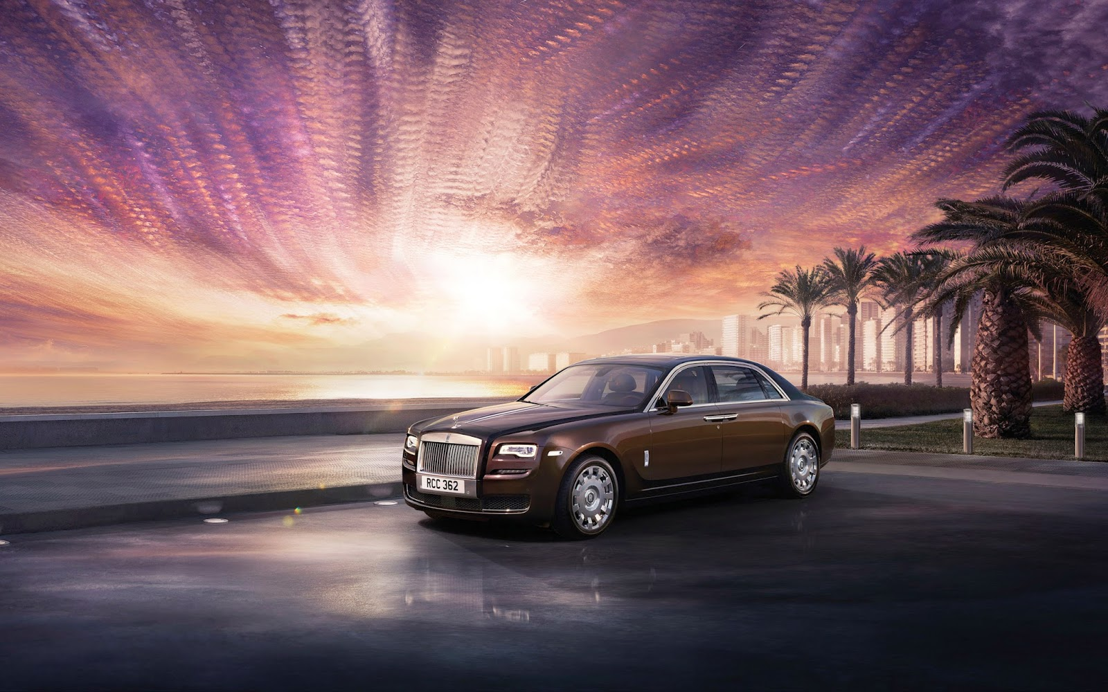 2015 Rolls-Royce Ghost Series sunset Wallpaper