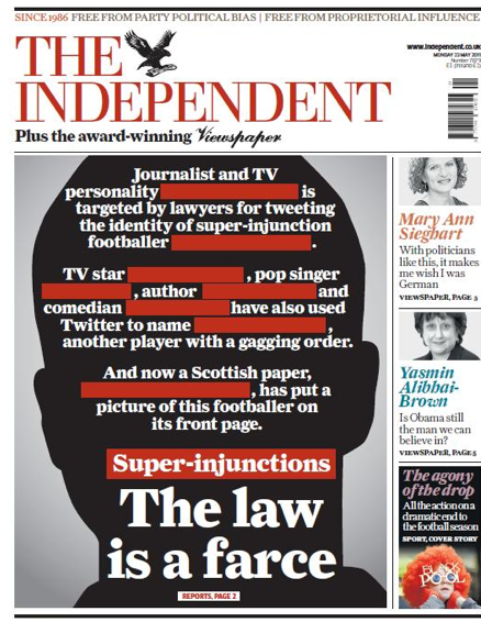 Jon slattery scolds the front page indy says the law is for Farcical law