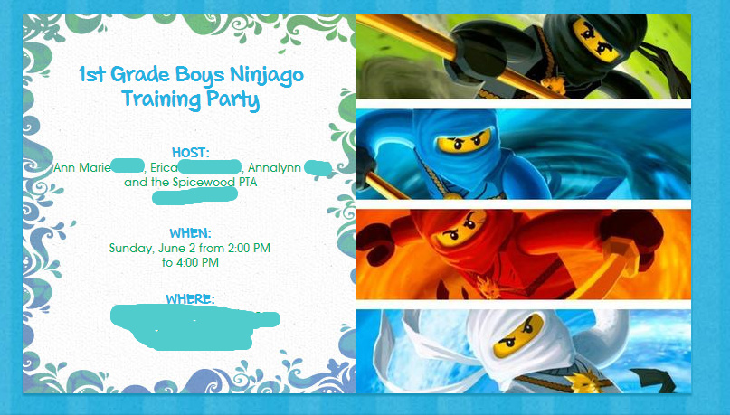 THE ADVENTURES OF TEAM DANGER End of School Ninjago Training Party – Ninjago Party Invitations
