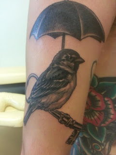 Bird and Antique Key Tattoo