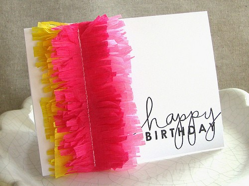 Be Differentt Normal Fringed Crepe Paper Birthday Cards