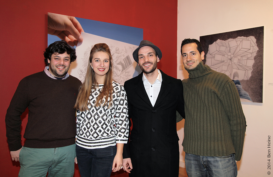 Ben Heine, Pedro Correa and Virginie Guillaume at Ben Heine Opening at DCA Gallery - Belgium - 2014