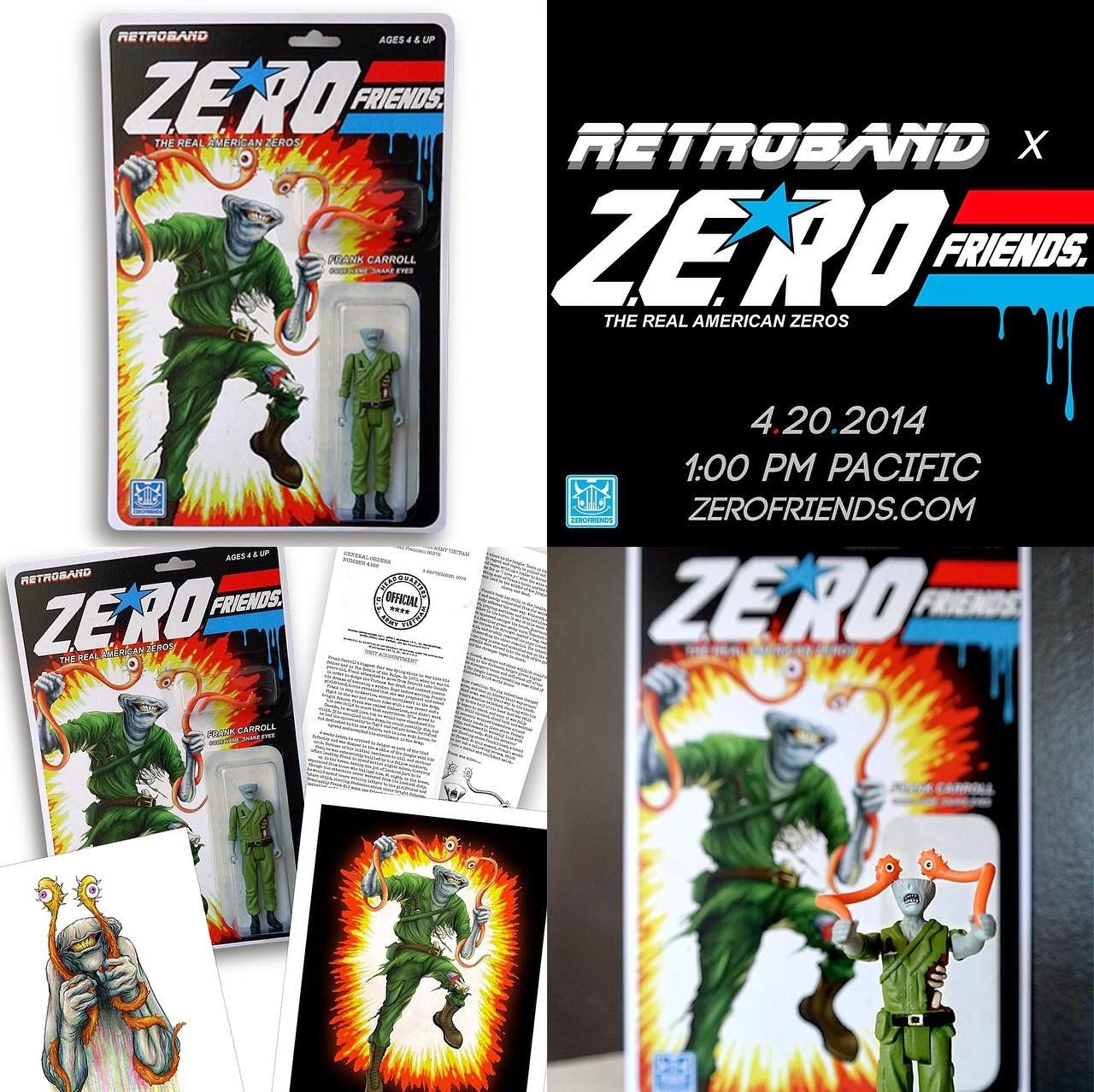 "Zero Friends - Alex Pardee x Retroband ""Snake Eyes"" Bootleg Resin Action Figure"
