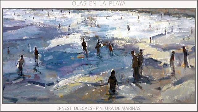 PLAYA-PINTURA-COMA-RUGA-TARRAGONA-VIDA-MARINAS-PINTURAS-PLAYAS-CATALUNYA-CUADROS-MARINA-DETALLES-ARTISTA-PINTOR-ERNEST DESCALS