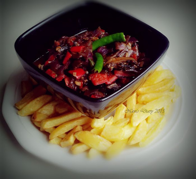 Chilli Mushroom on a potato chips platter!