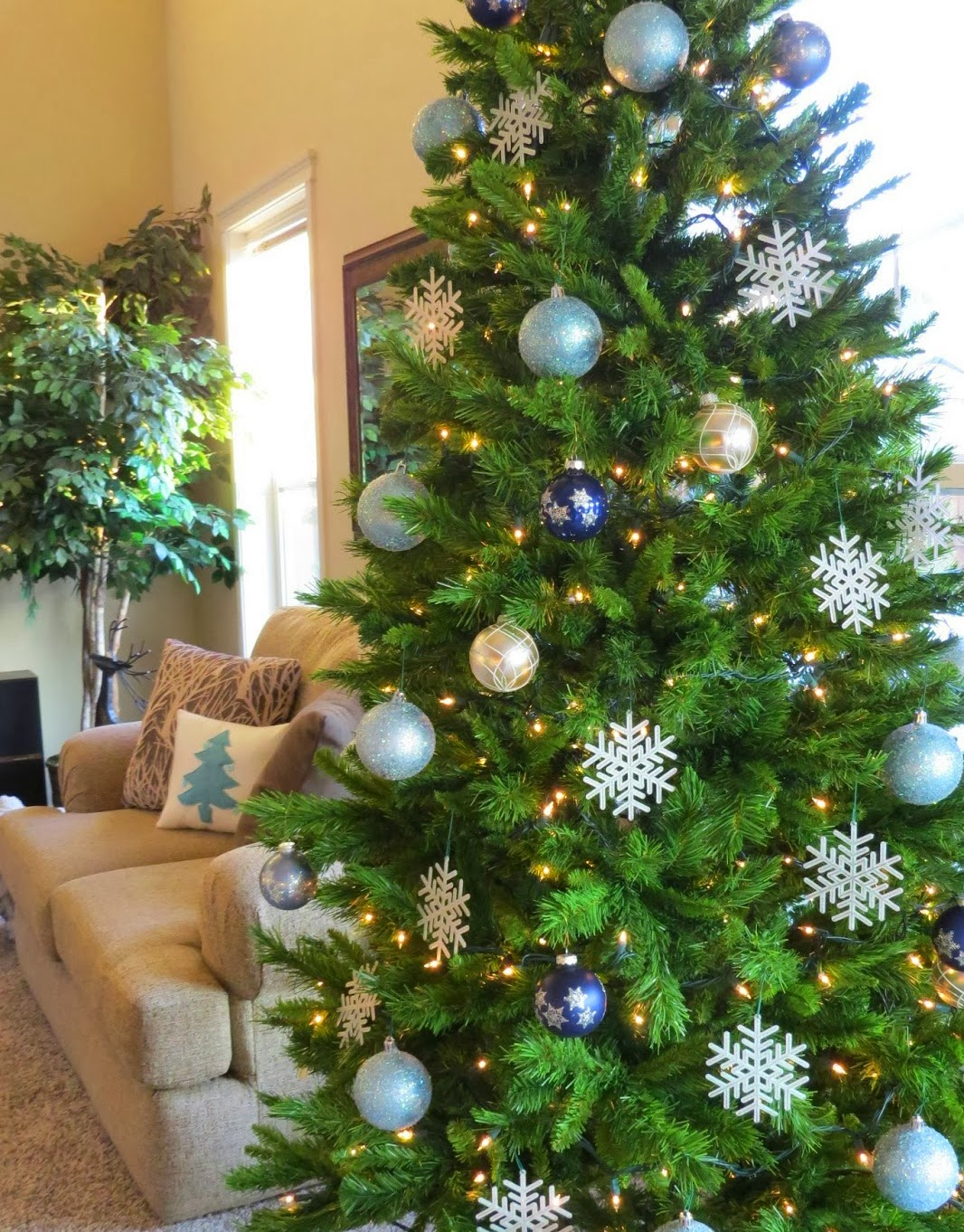Rustic Christmas Decor, Christmas Tree with Blue and Silver Ornaments