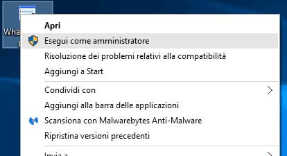 Windows 10 Esegui come amministratore