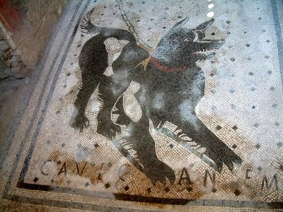 mosaïque, Pompéi, chien, cave canem