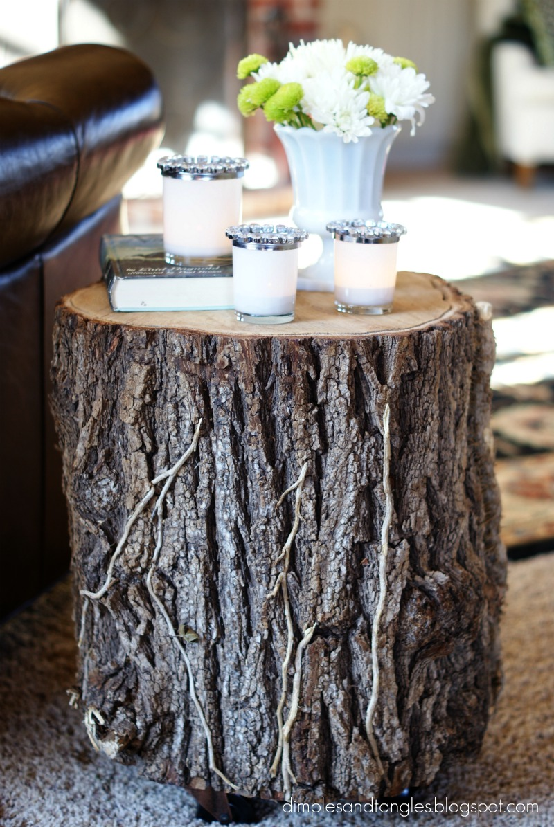 stump side tables dimples and tangles. Black Bedroom Furniture Sets. Home Design Ideas