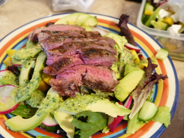 ... and steak over the salad and drizzle with the jalapeno dressing