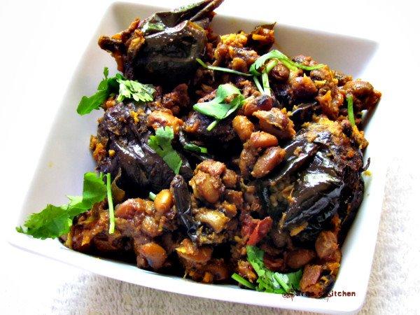 Eggplant cowgram dry curry / Kathirikai karamani varuval