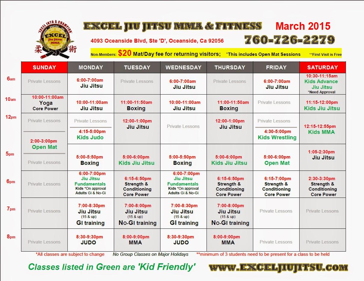 classes and schedule Excel Jiu Jitsu MMA Oceanside Vista Carlsbad