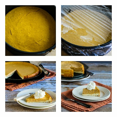 Low-Sugar (or Sugar-Free) Layered Pumpkin Cheesecake found on KalynsKitchen.com