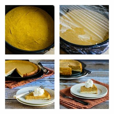 Low-Sugar (or Sugar-Free) Layered Pumpkin Cheesecake found on KalynsKitchen.com
