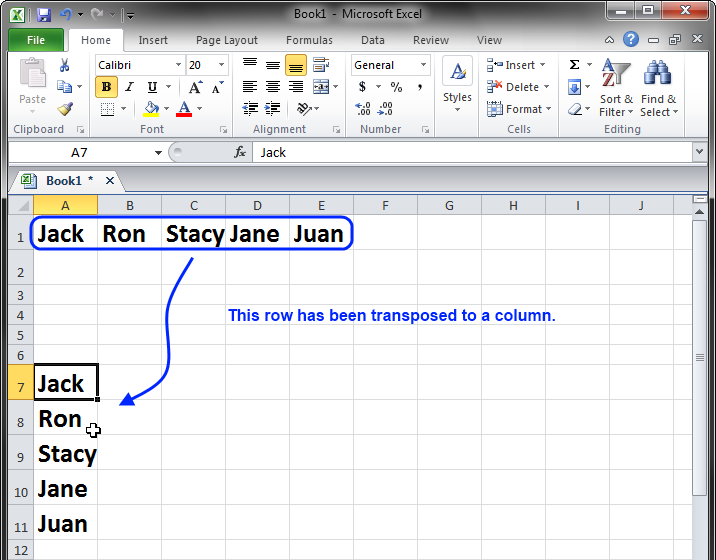 Excel 2010 or 2007: How to Easily Convert Rows to Columns