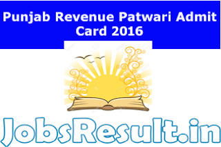 Punjab Revenue Patwari Admit Card 2016