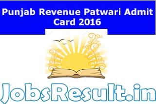 Punjab Revenue Patwari Admit Card 2016