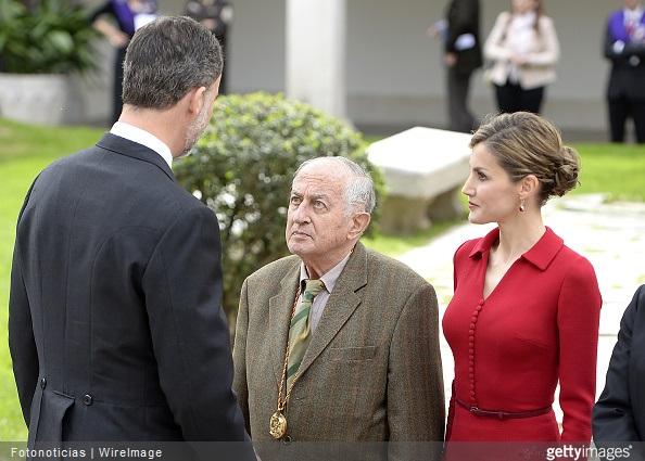 King Felipe VI of Spain, writer Juan Goytisolo and Queen Letizia of Spain attend the Cervantes Award Ceremony at Alcala de Henares University