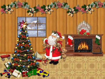 Wallpaper de Santa Claus junto al árbol de Navidad