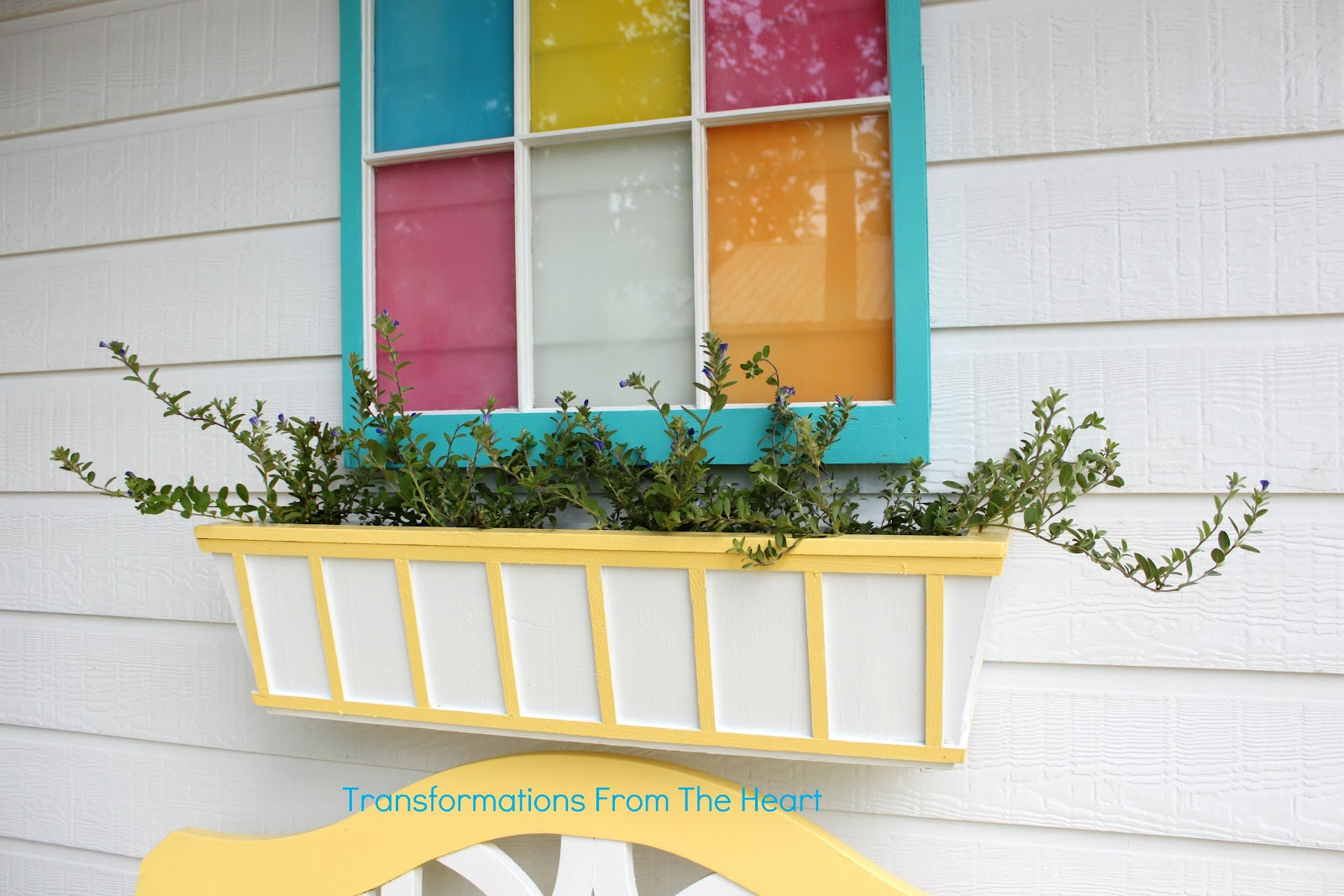 Painted Planter Box With Plants
