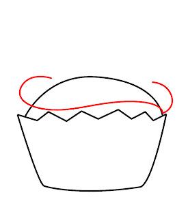 How To Draw A Kawaii Cupcake Step 4